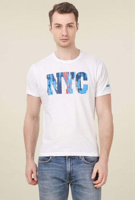 Spunk White Half Sleeves T-Shirt