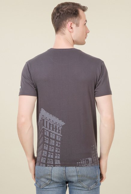 Spunk Brown Half Sleeves Cotton T-Shirt