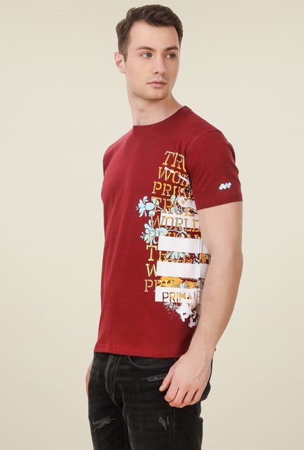 Spunk Red Round Neck Cotton T-Shirt