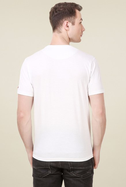 Spunk White Regular Fit T-Shirt