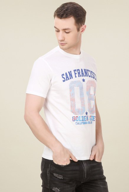 Spunk White Cotton T-Shirt