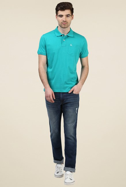 Parx Turquoise Cotton Polo T-Shirt