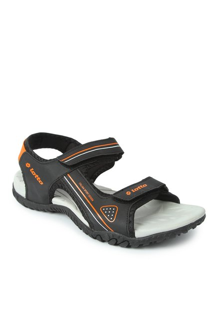 9b8bd19f7 Buy Lotto Refer Black   Orange Floater Sandals for Men at Best Price ...
