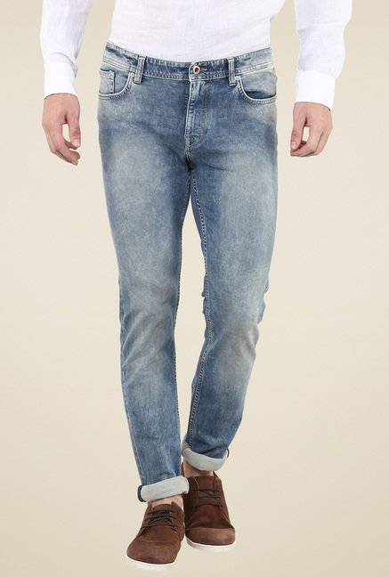 celio* Blue Acid Washed Slim Fit Jeans