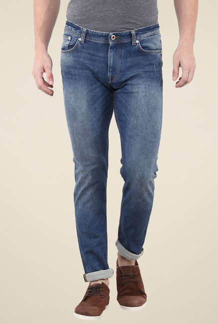 celio* Steel Blue Lightly Washed Slim Fit Jeans