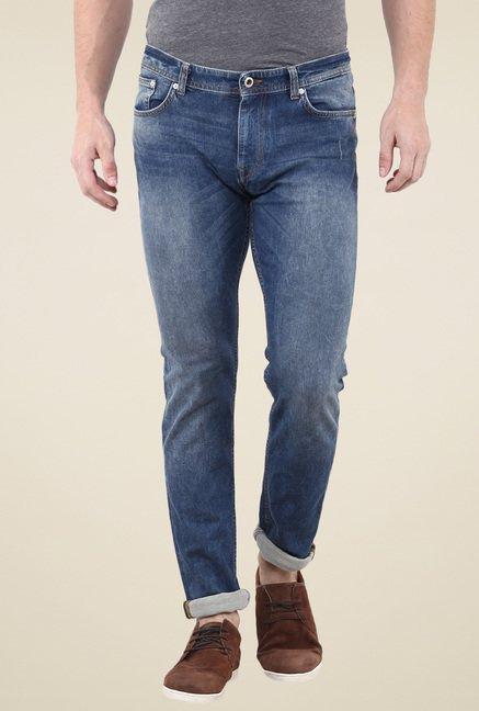 celio* Steel Blue Lightly Washed Slim Fit Jeans