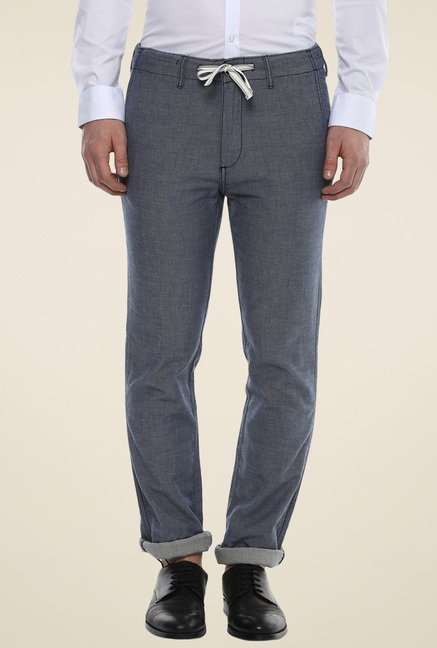 celio* Steel Blue Slim Fit Trousers