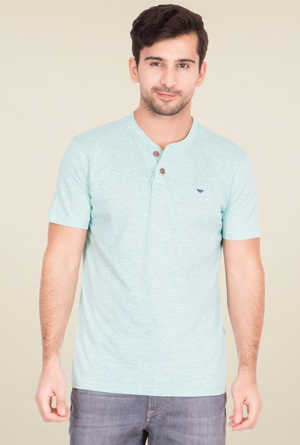 Red Tape Sea Green Cotton Henley T-Shirt