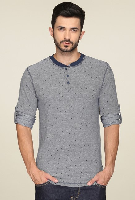 Levi's Grey & Blue Printed Henley T-Shirt
