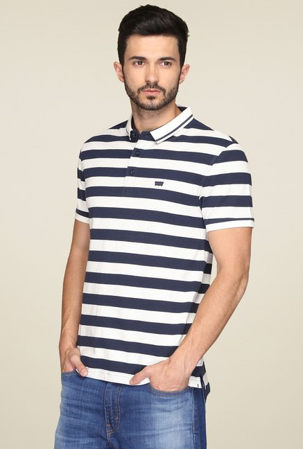 Levi's White & Navy Regular Fit Polo T-Shirt