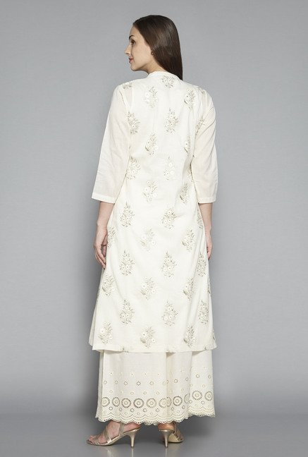 Zuba by Westside Off White Embroidered Kurta