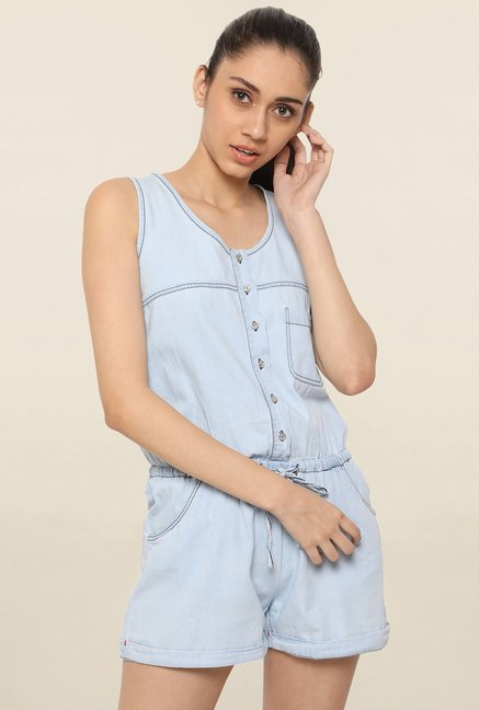 Globus Light Blue Solid Playsuit