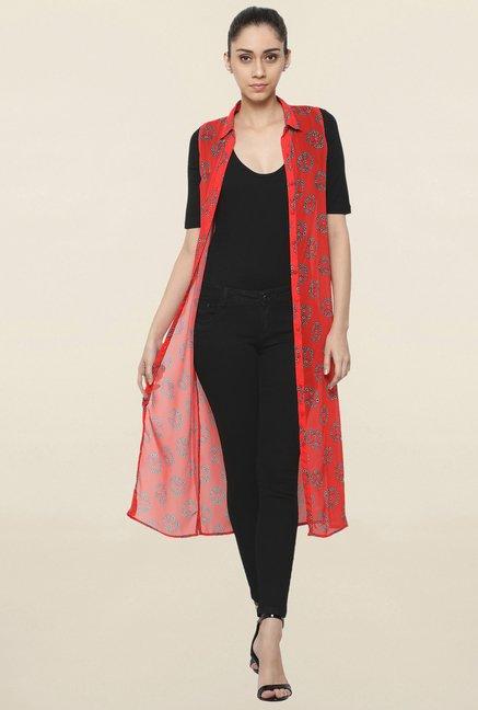 336c59eeb9 Buy Globus Red Printed Long Line Shrug for Women Online @ Tata CLiQ