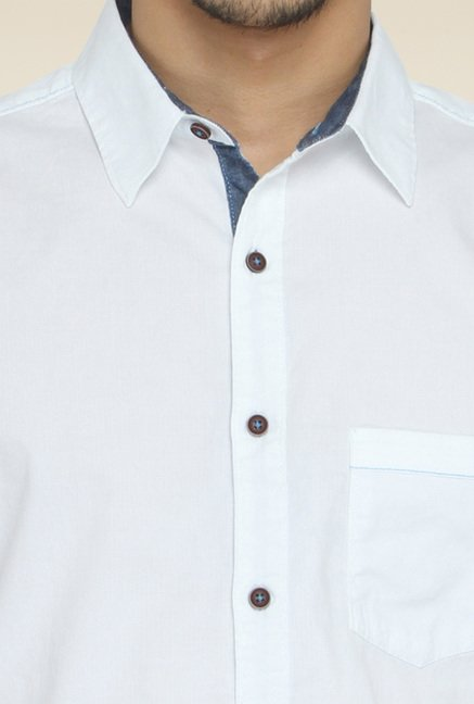 Greenfibre White Slim Fit Solid Shirt