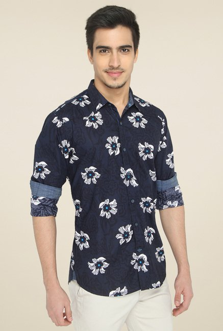 Jadeblue Dark Blue Slim Fit Cotton Shirt