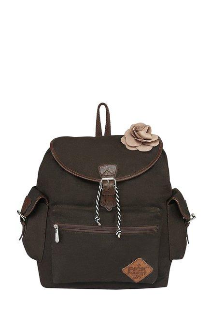 Pick Pocket Brown Floral Canvas Backpack