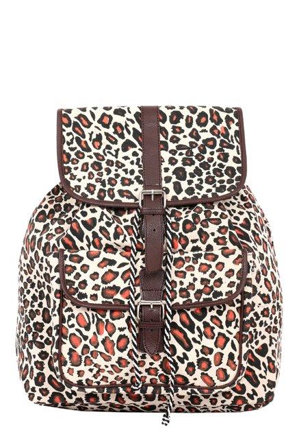 Pick Pocket Brown & Orange Printed Canvas Backpack