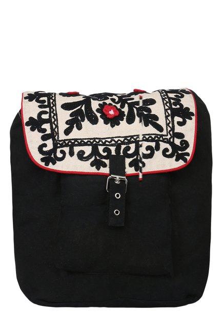 Pick Pocket Black & Beige Embroidered Canvas Backpack