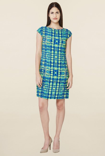 AND Blue Printed Shift Dress