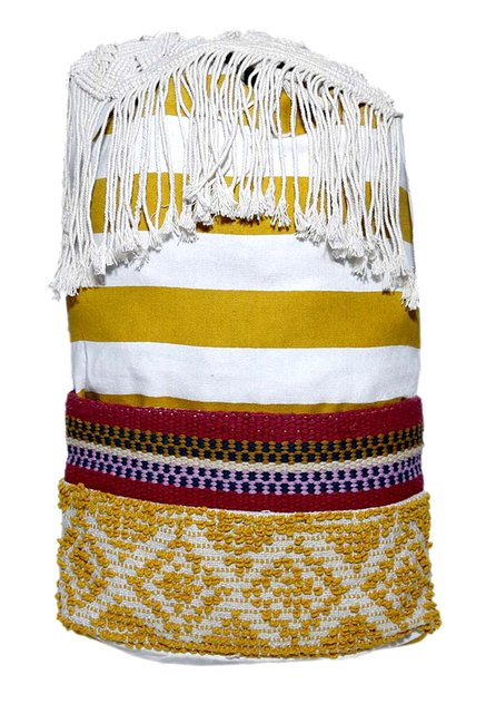 Diwaah Mustard Yellow Handcrafted Woven Cotton Backpack