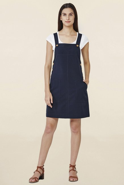 AND Navy Above Knee Dungaree Dress