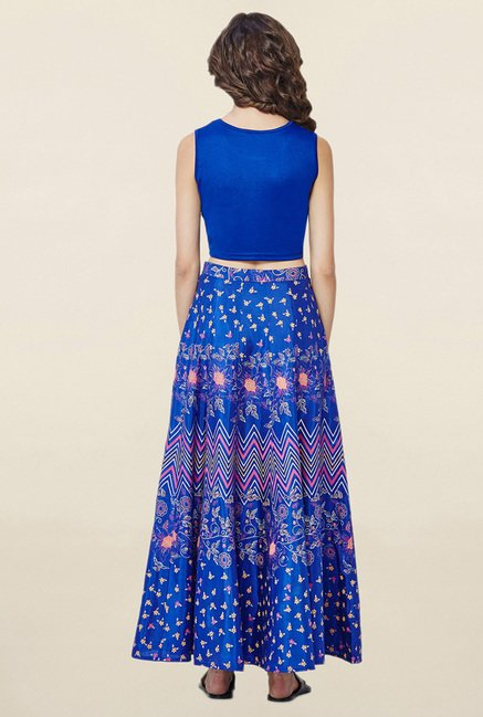 Global Desi Royal Blue Solid Top With Skirt