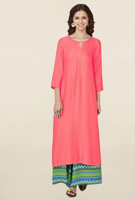 Global Desi Coral Solid Kurta