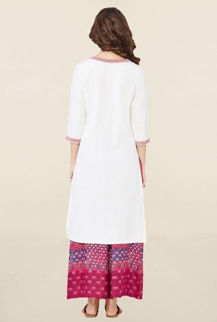 Global Desi White Embroidered Kurta