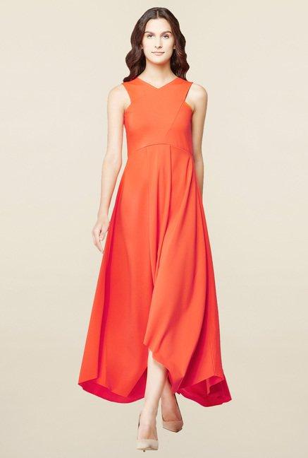 7f21d55811d Buy AND Tangerine Maxi Dress for Women Online   Tata CLiQ