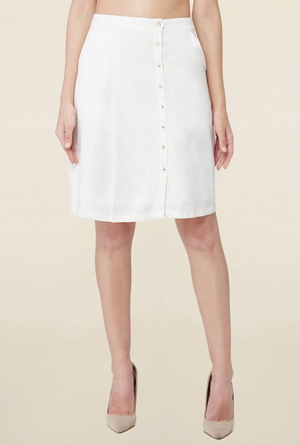 AND Off White Solid Skirt