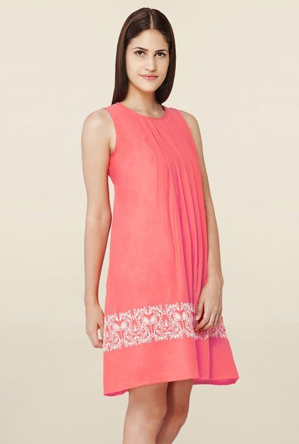 AND Coral Embroidered Shift Dress
