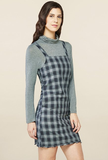 2b7ae56b4f Buy AND Grey Checks Dungaree Dress for Women Online   Tata CLiQ