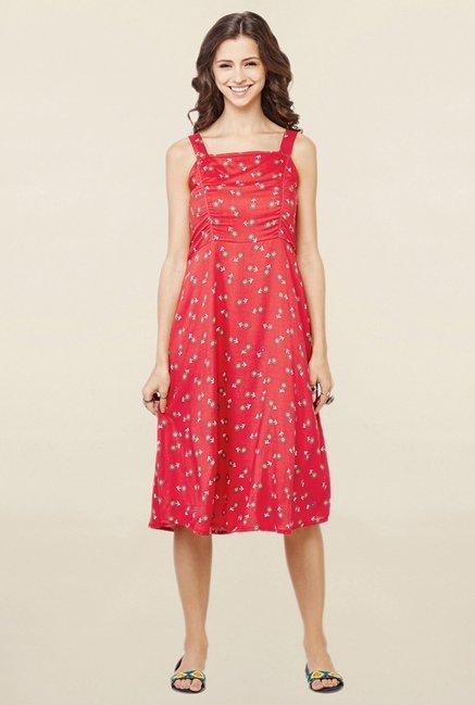 9475f9e21 Buy Global Desi Red Floral Print Pinafore Dress for Women Online   Tata CLiQ