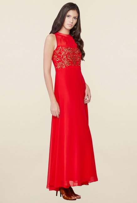 AND Red Embroidered Dress
