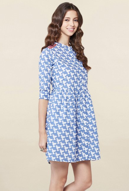 Global Desi Blue Printed Shirt Dress
