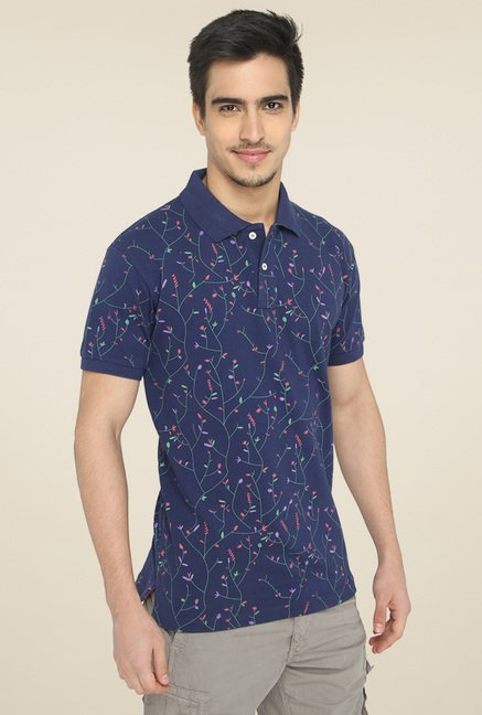 Greenfibre Navy Printed T-Shirt