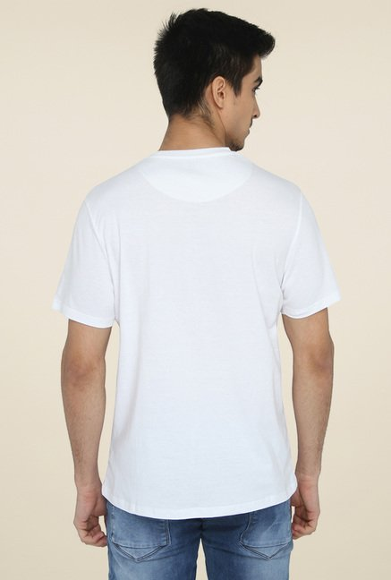 Greenfibre White Printed Regular Fit T-Shirt