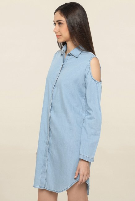 Globus Blue Polyester Shirt Dress