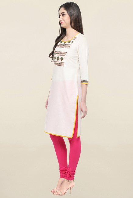 Globus Off White Printed Kurta