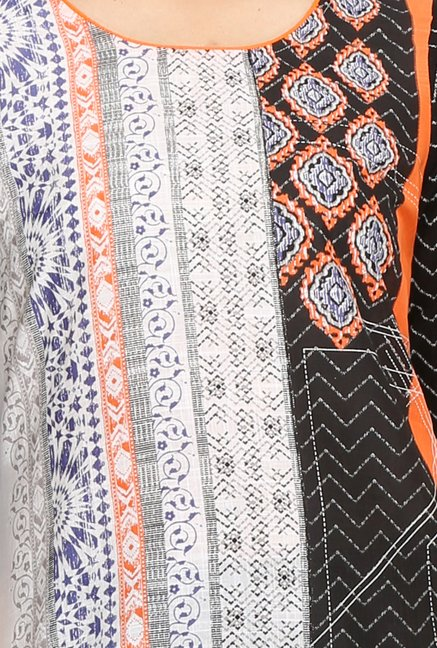 Aurelia Off White & Black Printed Kurta