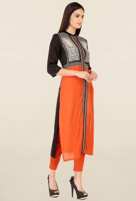 W Orange & Black Printed Kurta
