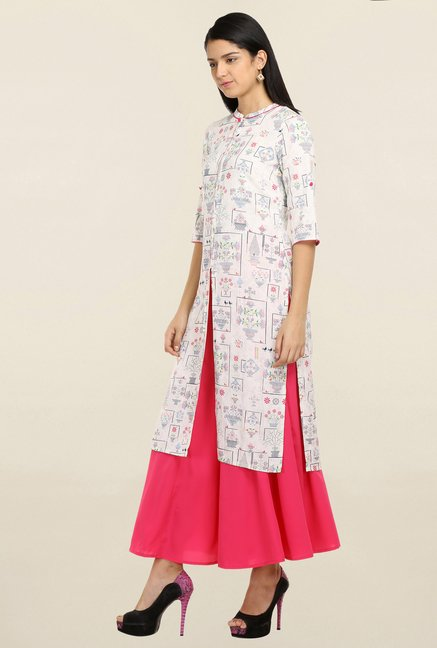 Aurelia Off White Printed Kurta