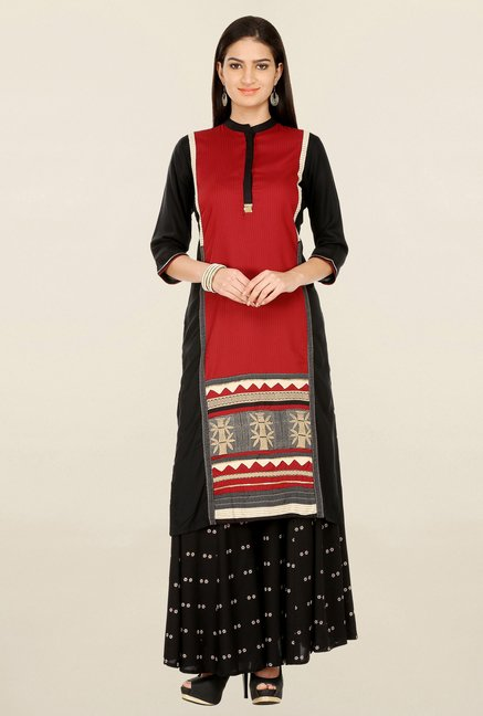 W Red & Black Printed Kurta