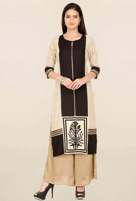 W Brown & Beige Printed Kurta