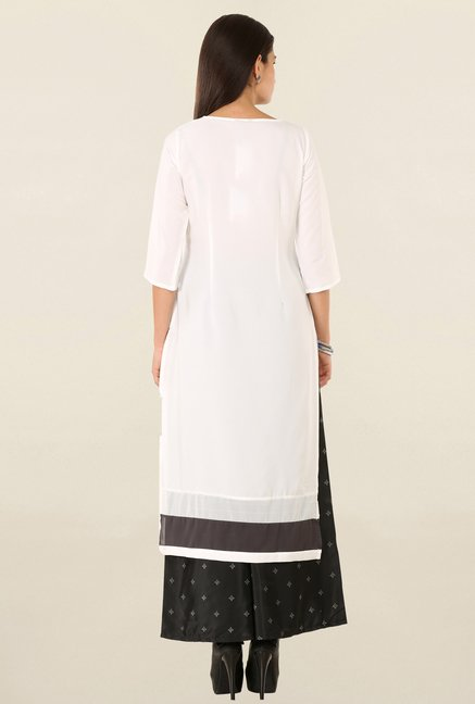 W Off White & Blue Printed Kurta
