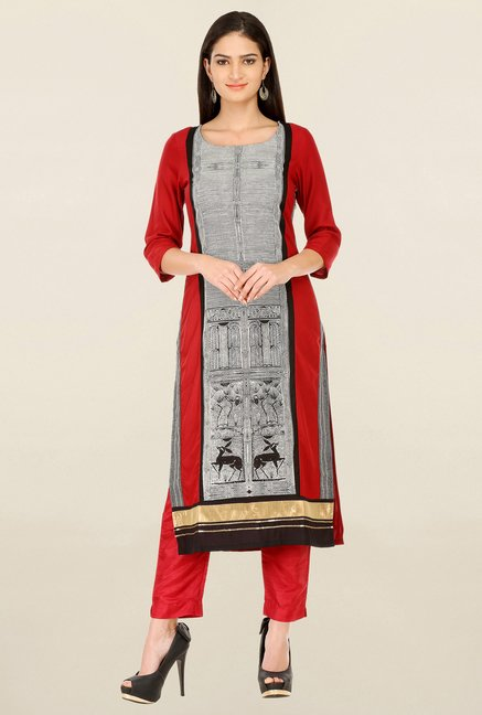 W Off White & Red Printed Kurta
