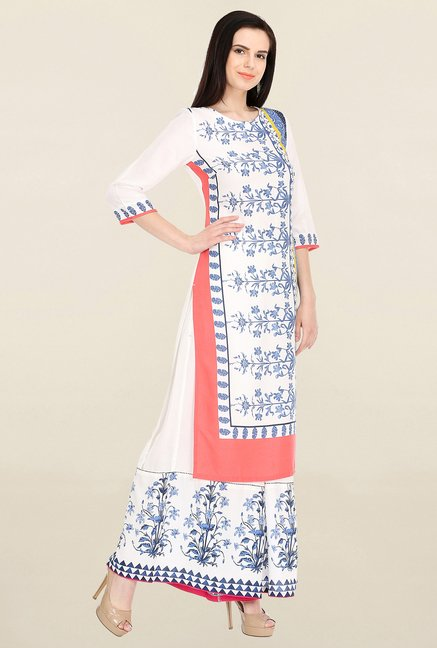 W Off White Printed Kurta