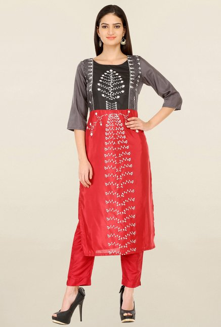 W Red & Grey Printed Kurta