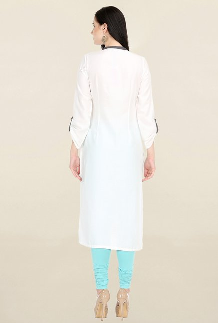 W White & Blue Printed Kurta