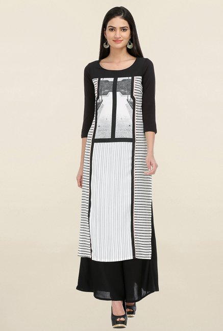 W Off White & Black Printed Kurta